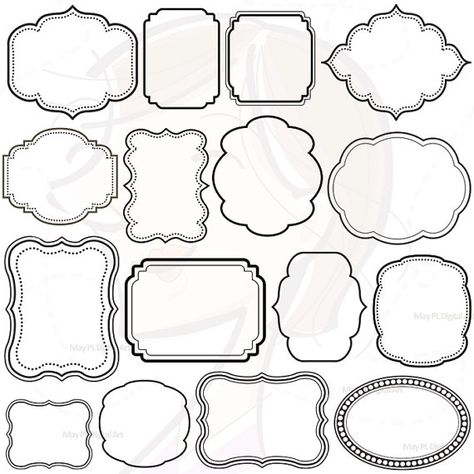 16 Digital Clip Art Frames Clipart Decoration Borders Download Commercial Use Personal Use Scrapbook Embellishment DIY Print Your Own 10139