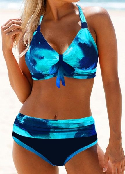 Women'S Blue High Waisted Two Piece Vintage Bikini Swimsuit Tie Dye Halter Neck Padded Wire Free Bowknot Detail Two Piece Bathing Suit By Rosewe