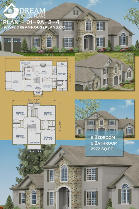 Dream House Plans: Popular Southern 5 Bedroom, 2972 Sq. Ft. house plan with custom home plan options. Open floor plan with a unique architecture design. 1000's of home plans to choose from with endless options like: a wrap around porch, basement, small, large, Southern, Cottage, Craftsman, Country, Rustic, 4 Bedroom, butler pantry, and more custom options.  #Best #Unique #HousePlan #HomePlans #OpenFloorHousePlans #DreamHousePlans