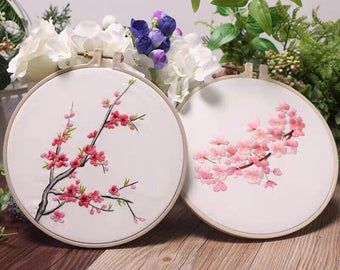 Hand Embroidery Kit Beginner Floral Embroidery Pattern Cherry Blossom Tree Hoop Embroidery Diy Craft Project In 2021 Modern Embroidery Kit Floral Embroidery Patterns Embroidery Kits