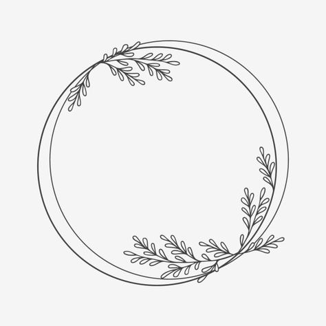Circle Floral Frame With Decorative Leaves Element Design Art Black Png Transparent Clipart Image And Psd File For Free Download Circle Drawing Floral Border Design Wreath Drawing