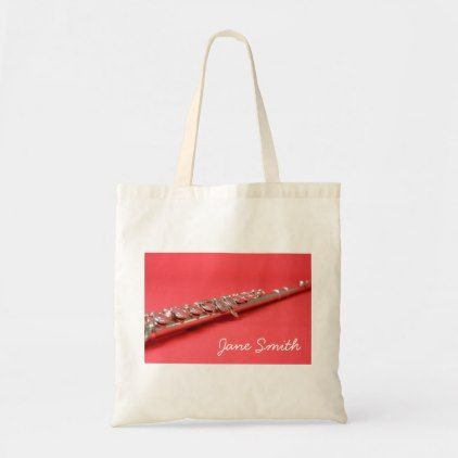 Flute instrument personalised name music lesson tote bag