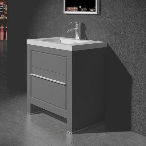 Sloan 28 Inch Single Freestanding Modern Grey Bathroom Vanity With Basin Grey Bathroom Vanity Single Bathroom Vanity Vanity Set