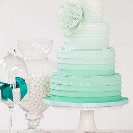 @Maegan Gudridge Rudd You could do your cupcakes in different shades of either mint or coral & stack them in hombre...just an idea