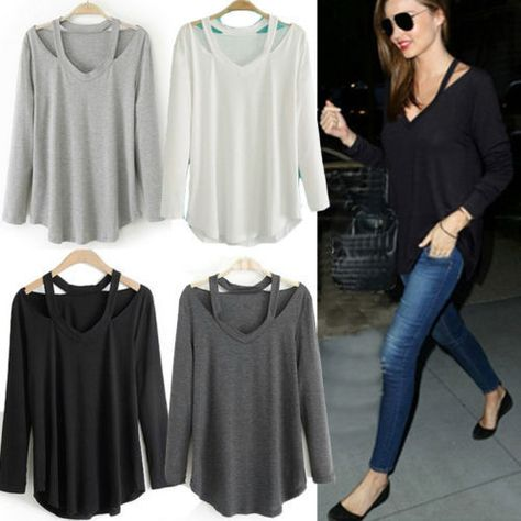 Womens Solid Casual V Neck T Shirt Tops Cotton Long Sleeve T Shirts