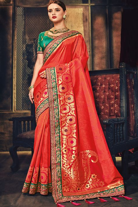 2c7a7f4980 Attractive Red Traditional Zari Embroidery Work Banarasi Silk Fabric  Wedding Wear Indian Style Designer Saree #