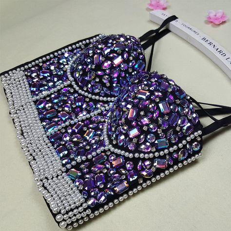 e6fe47bb63c New High Quality Handmade Sexy Women Crystal Rhinestone Embroidered Bra Top  Jeweled Beaded Bra Pearl Strip Bustier Cropped Top