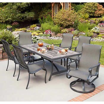 Campbell 7 Piece Sling Dining Set Outdoor Dining Set Patio Dining Set Costco Patio Furniture