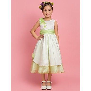 c18901f09e A-line Princess Jewel Tea-length Taffeta Flower Girl Dress With Sash Ribbon  – USD   69.99