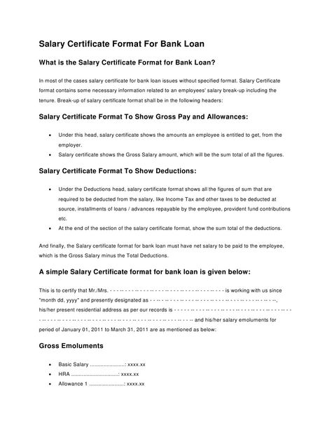 salary confirmation certificate format for bank loan loans Home - format of salary certificate letter