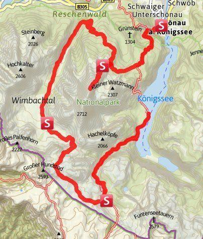 Karte Die Watzmanntour Die Vielleicht Schonste Und Vielseitigste Wanderung Von Hutte Zu Hutte Im Nationalpark Berchtes Wanderung Wandern Alpen Huttentouren