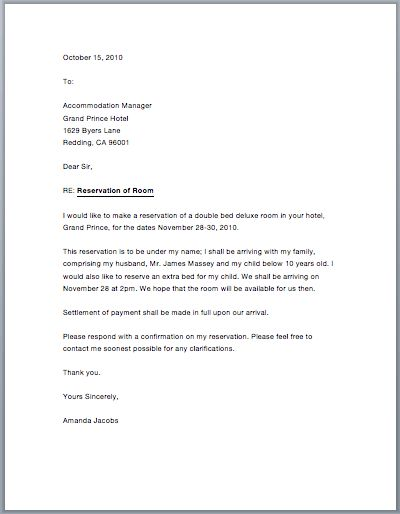 Sample Letter Of Guarantee For Hotel Reservation Google Search