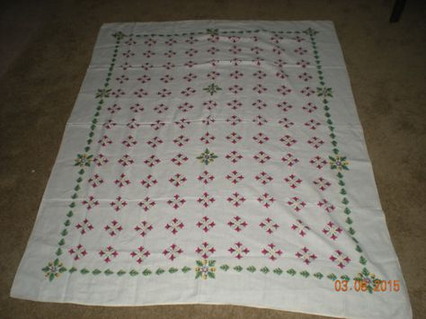 Red and Grey Print on a White Field  54 x 82 Rectangle Talblecloth Graphic Pink