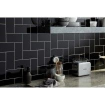 Image For Verona Central Gloss Black Ceramic Wall Tile 50 Per Box 100x200mm Kitchen Wall Tiles Wall Tiles Ceramic Wall Tiles