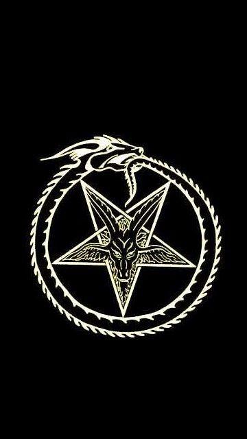 Goat Head Baphomet Ouroboros Symbol Esoteric Witchy Wallpaper Satanic Art Gothic Wallpaper