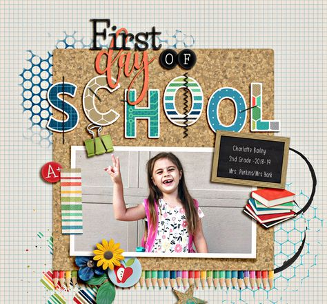 Showcasing some of the most outstanding digital scrapbooking layouts posted in the galleries, almost every single day. School Scrapbook Layouts, Scrapbook Layout Sketches, Digital Scrapbooking Layouts, Baby Scrapbook, Scrapbook Cards, Scrapbook Journal, Smash Book Pages, First Day Of School, School Days