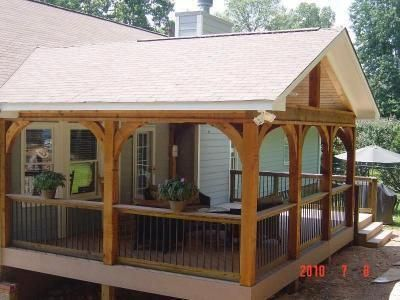 Covered Deck Design Ideas Gabled Roof Open Porch Covered Porches Photo Gallery Archadeck Of Patiodeck Porch Design Diy Porch House With Porch