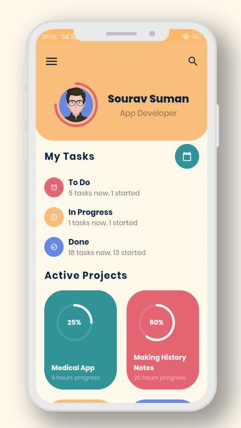 A beautiful task planner app design made in flutter