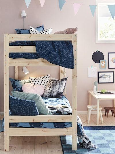 Mydal Pine Bunk Bed Frame 90x200 Cm Ikea Bunk Beds Bed Frame Kids Bedroom