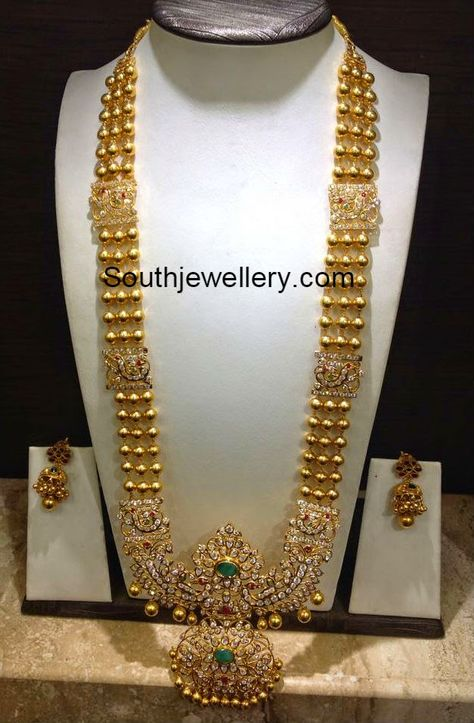 Gold Haram with CZ Stones Pendant - Indian Jewellery Designs