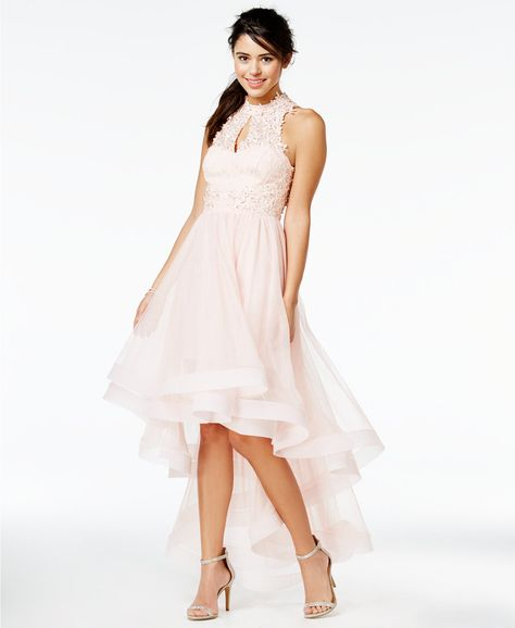 9c7c91e33c6 Say Yes to the Prom Juniors  Embellished High-Low Halter Dress
