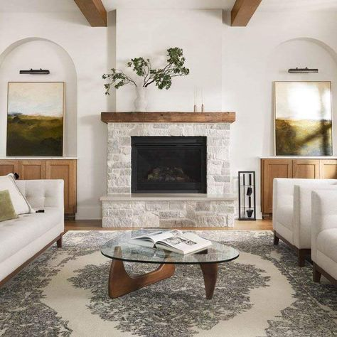 Wood Mantle Fireplace, White Fireplace, Rustic Fireplaces, Farmhouse Fireplace, Living Room With Fireplace, Home Living Room, Simple Fireplace, Stucco Fireplace, Fireplace Update