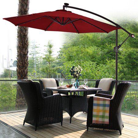 Costway 10 Hanging Solar Led Umbrella Patio Sun Shade Offset Market W Base Burgundy Walmart Com Patio Sun Shades Patio Umbrella Best Patio Umbrella