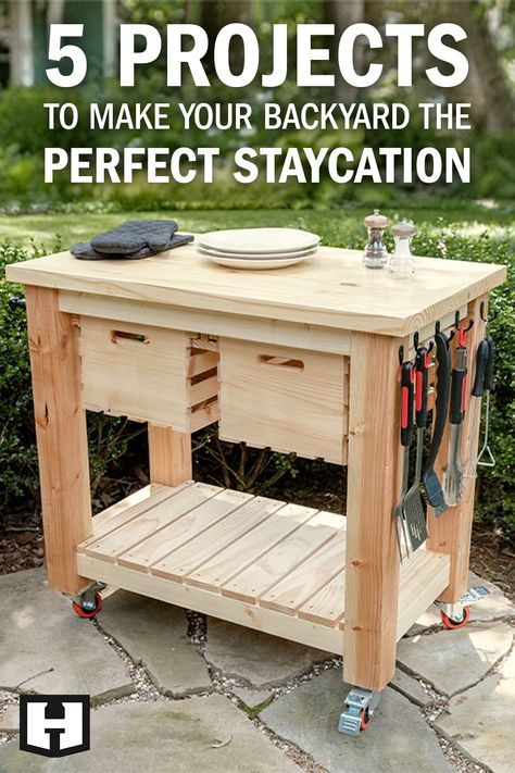 Diy Wooden Projects, Diy Furniture Projects, Woodworking Projects Diy, Wooden Diy, Outdoor Projects, Woodworking Plans, Woodworking Shop, Diy Backyard Projects, Staycation