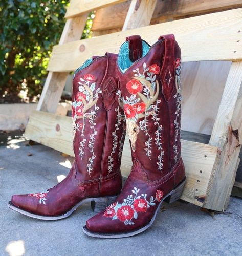 5d56289ff1c Corral Red Deer Skull and Floral Embroidery A3712 in 2019 | Boots ...