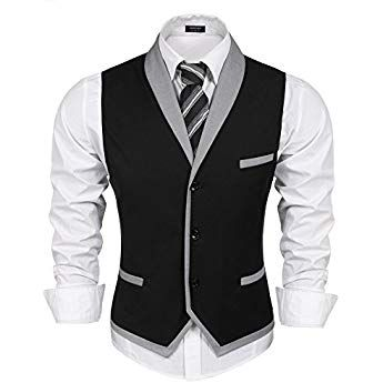 Gilet de Costume pour Homme Slim Fit Veste pour Business Casual