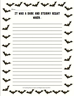Halloween Writing Prompt- Students create a story using the prompt & was a dark and stormy night when. Third Grade Writing, Writing Prompts 2nd Grade, Writing Prompts For Writers, Picture Writing Prompts, Writing Workshop, Teaching Writing, Writing Activities, Sentence Writing, Language Activities