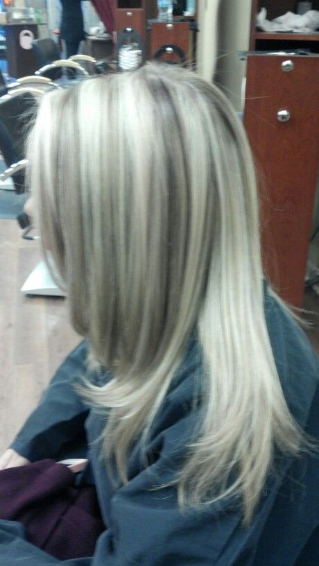 White blonde highlights. Light brown and purple lowlights