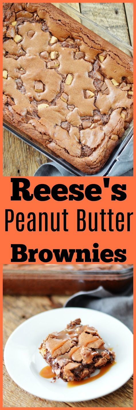 Reese's Peanut Butter Brownies by A Teaspoon of Home is part of Desserts - Peanut Butter Desserts, Peanut Butter Brownies, Cookie Desserts, Chocolate Peanut Butter, Easy Desserts, Delicious Desserts, Chocolate Chips, Delicious Dishes, Holiday Desserts