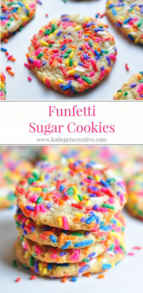 These funfetti cookies are loaded with rainbow colored sprinkles and make a festive addition to any birthday party menu! Made with a traditional sugar cookie dough, change the sprinkle color for any holiday for year round fun. #sugarcookies #funfetticookies #funfetti #cookies #birthday #dessert #birthdaycookies #sprinkles #rainbowsprinkles #rainbowdesserts