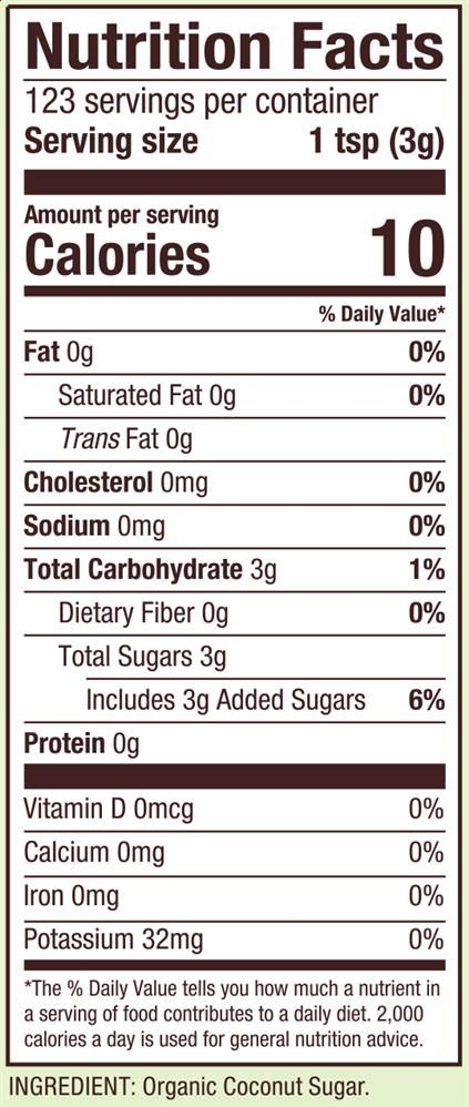Organic Coconut Sugar Calories In Sugar Organic Coconut Sugar Sugar Nutrition