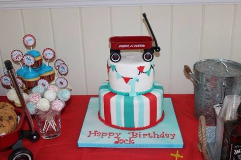 Cute wagon cake at a Vintage Toy Birthday Party!  See more party ideas at CatchMyParty.com!  #partyideas #vintage