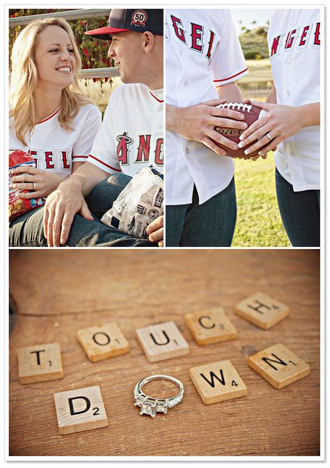 I just like the Touch Down with right. Very cute.     Outdoorsy San Diego Engagement Session by Studio Sequoia on BorrowedandBleu.com