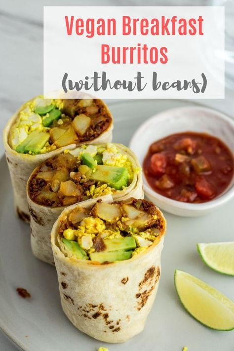 Vegan Breakfast Burritos - Vegan breakfast burrito with no beans! Instead, it's filled with deliciou Vegan Breakfast Burritos - Vegan breakfast burrito with no beans! Instead, it's filled with delicious scrambled tofu, breakfast hash, and avocado! Vegan Dinner Recipes, Vegan Breakfast Recipes, Vegan Recipes Easy, Vegan Recipes Videos, Brunch Recipes, Whole Food Recipes, Cooking Recipes, Vegetarian Recipes No Beans, Easy Vegan Dishes