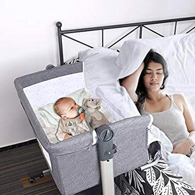 Angelbliss 4 in 1 Baby Beside Sleeper Bassinet|Portable Crib Baby Playards Easy Folding|Playpen Include Comfortable Mattress,Nursery Center,Diaper Changer,Storage Basket for Newborn Grey