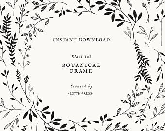 Hand Drawn Leaf Wreath Clipart Frame Black Ink Botanical Oval Etsy Printy