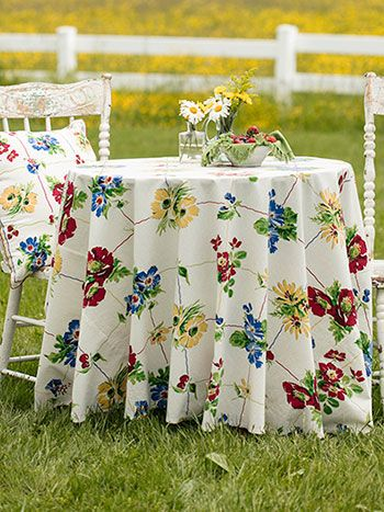 Poppy Patch Round Cloth Collections Kitchen Table Linens
