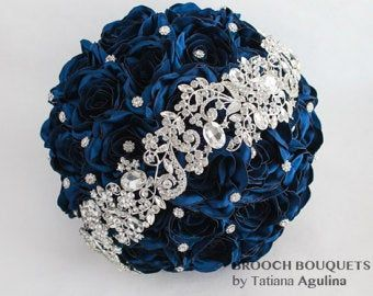 Brooch bouquet Jeweled Bouquet Quinceanera keepsake bouquet Turquoise and silver wedding brooch bouquet