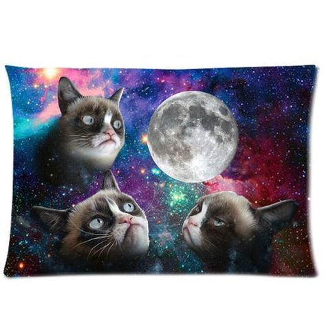 Rectangle Galaxy Space Grumpy Cat Tard Pillow Case Cover 20 X 30