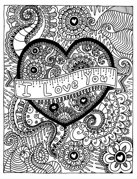 Valentine\'s Day Coloring Pages eBook: Love You Zentangle   Free ...