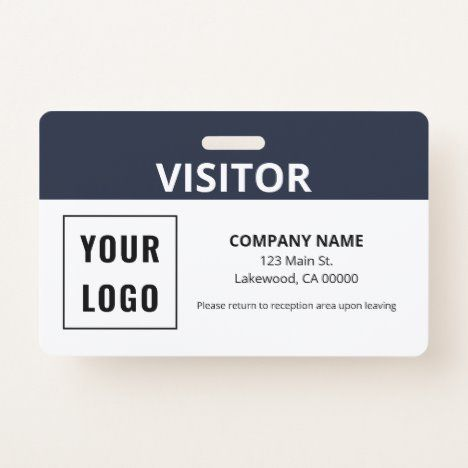 Visitor Pass Simple Logo Id Badge Zazzle Com In 2021 Simple Logo Id Badge Party Tees