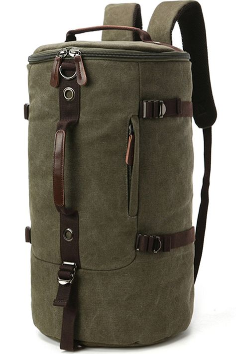 Carriemeow Canvas Hand Bag Retro Head Layer Cowhide Man and Woman Backpack. Color : Khaki