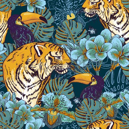 Tropical seamless background with exotic flowers and Toucan and Tiger Stock Vector