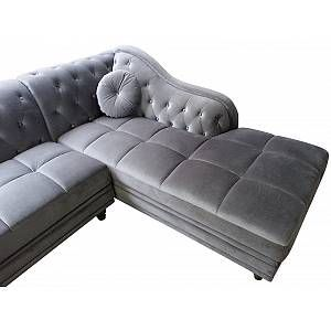 Canape D Angle Brittish Velours Argent Style Chesterfield En 2020 Canape Velours Canape Angle Et Argent