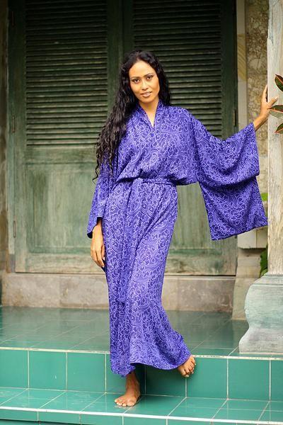 d767f4547 Blue Violet Women's Batik Robe from Indonesia, 'Kimono of Blue ...
