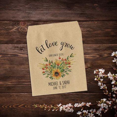 Wedding Seed Packet, Seed Packet Favor, Flower #weddings #seedpackets #seedfavors #weddingfavors #weddingseedfavor #woodlandwedding #wildflowerseeds #letlovegrow #letlovebloom #weddingseedpackets #bohowedding #rusticwedding #sunflowerfavor #seedpacketfavor